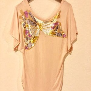 Marciano Gorgeous Pink Butterfly Tunic Tee